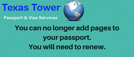 You can no longer add pages to you passport. You will need to renew.