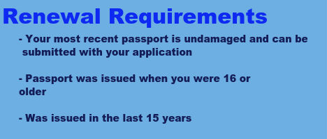 requirements to renew your passport