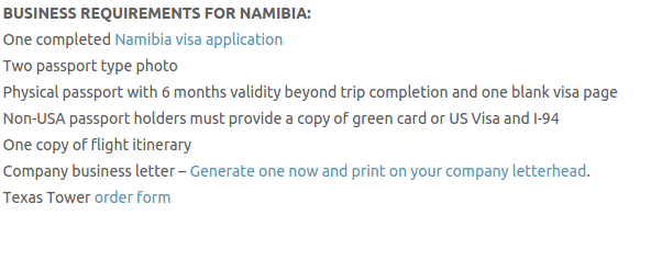 Namibia travel visa