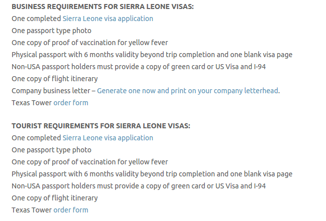 sierra leone visa application