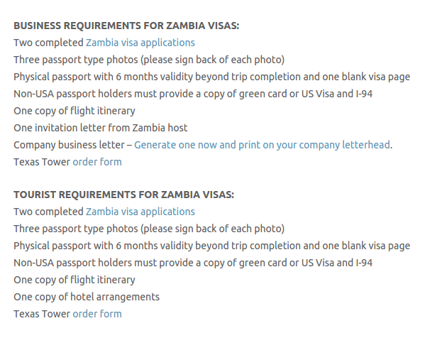 zambia travel visa