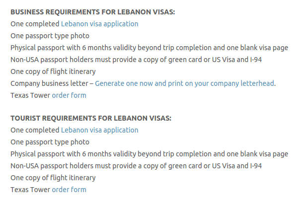 Lebanon Visa - Texas Tower Fast Passport and Visa Call Now! (713) 874-1420.clipular