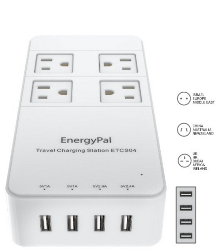 EnergyPal Travel Charging Station ETCS04 - International Travel Adapter - Surge Protector - Power Strip With USB - Power Adapter