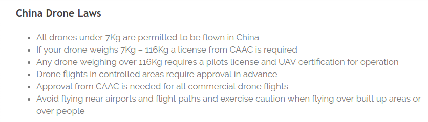 from : https://uavsystemsinternational.com/drone-laws-by-country/china-drone-laws/