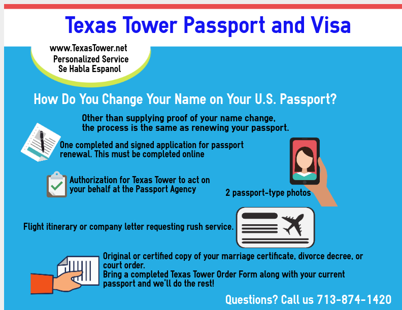 Need to Change Your Name on Your Passport? Here's How! - Texas Tower 24  Hour Passport and Visa